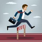 Homme d'affaires Jumping Over Hurdle illustration de vecteur