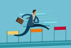 Homme d'affaires Jumping Over Hurdle Concept d'affaires d'accomplissement de but Illustration de vecteur illustration stock