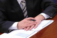 Homme d'affaires lors du contact 1 Image libre de droits