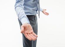 Homme d'affaires méconnaissable gesticulant Photos libres de droits
