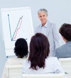Homme d'affaires mûr faisant une présentation Images stock