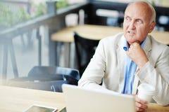 Homme d'affaires mûr intéressé en café Photo libre de droits