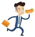 Homme d'affaires mangeant l'illustration de vecteur de hot-dog Photographie stock libre de droits