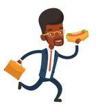 Homme d'affaires mangeant l'illustration de vecteur de hot-dog Photos stock