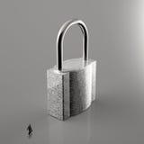 Homme d'affaires marchant au cadenas en métal 3d Images stock