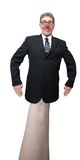 Homme d'affaires, marionnette de main de clown de Politican d'isolement Images stock
