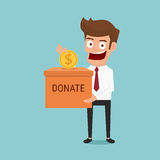 Homme d'affaires mettant la pièce de monnaie dans la boîte de donation Concept de donation illustration stock