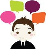 Homme d'affaires mignon avec la bulle vide colorée de la parole Image stock