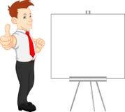 Homme d'affaires mignon et signe vide Image stock
