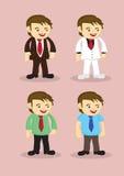 Homme d'affaires mignon Vector Icon Set de bande dessinée Image stock