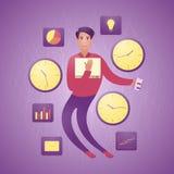 Homme d'affaires moderne flexible entre les horloges et les graphiques Le concept de l'horaire de travail flexible illustration stock