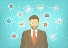 Homme d'affaires moderne Travel Conceptual Infographics Images libres de droits