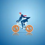 Homme d'affaires montant une bicyclette avec la roue de signe d'argent Concept de l'équitation au succès illustration libre de droits
