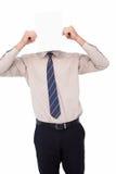 Homme d'affaires montrant la carte devant sa tête Photos libres de droits