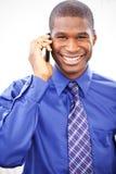 Homme d'affaires noir au téléphone Photos stock