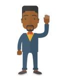 Homme d'affaires noir d'échec se tenant ondulant sa main illustration de vecteur