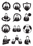 Homme d'affaires noir et blanc Vector Icon Set Photos libres de droits