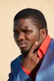 Homme d'affaires noir inquiété Photos stock