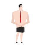 Homme d'affaires nu Homme dans le lien et des chaussures Ruinez la caisse d'enfouissements f illustration stock