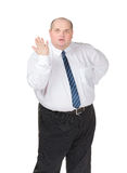 Homme d'affaires obèse effectuant faire des gestes Images libres de droits