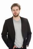 Homme d'affaires ou jeune homme utilisant la chemise grise et la veste noire Image stock