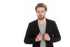 Homme d'affaires ou jeune homme utilisant la chemise grise et la veste noire Photographie stock