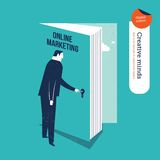 Homme d'affaires ouvrant un marketing en ligne de porte de livre Photo libre de droits