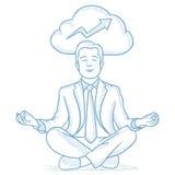 Homme d'affaires paisible méditant illustration stock