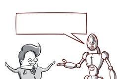 Homme d'affaires parlant avec le robot moderne, homme d'affaires Meeting Discussion Images libres de droits