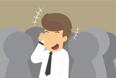 Homme d'affaires parlant sur des communications de téléphone Photographie stock libre de droits