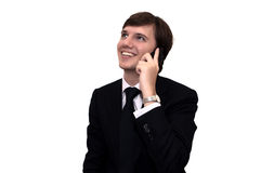 Homme d'affaires parlant sur le portable Photographie stock libre de droits
