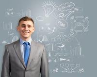 Homme d'affaires pensant à l'innovation dans les affaires Image libre de droits