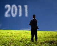 Homme d'affaires pensant et observant le 2011 Photo stock