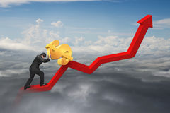 Homme d'affaires poussant le dollar au point de départ de diagramme de tendance avec du Cl Photo libre de droits