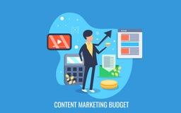 Homme d'affaires préparant le budget pour la campagne de marketing satisfaite en ligne Bannière plate de vecteur de conception illustration de vecteur
