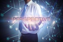 Homme d'affaires présent la perspective de mot Image stock