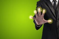 Homme d'affaires Pressing Virtual Screen Photo libre de droits