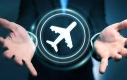 Homme d'affaires réservant son vol avec l'application numérique moderne 3 Photos stock
