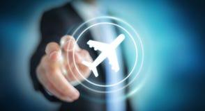 Homme d'affaires réservant son vol avec l'application numérique moderne 3 Photos libres de droits