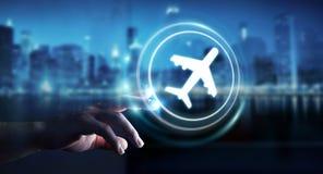 Homme d'affaires réservant son vol avec l'application numérique moderne 3 Photo stock