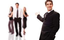 Homme d'affaires réussi avec salut Image stock