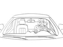 Homme d'affaires réussi dans la voiture de luxe Homme conduisant un cabriolet Coloration d'isolement d'objet, lignes noires, fond illustration de vecteur