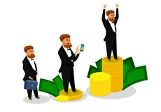 Homme d'affaires réussi Isolated Illustrations Set illustration de vecteur