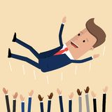 Homme d'affaires réussi jetant par son travail d'équipe ou collègue Le concept de sentiment et d'émotion dans le succès et l'équi illustration stock