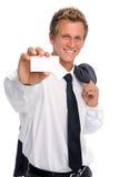 Homme d'affaires réussi retenant la carte vide images stock