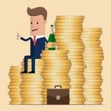 Homme d'affaires réussi s'asseyant sur l'argent, et champagne potable Symbole de la richesse et des grands bénéfices Illustration illustration de vecteur