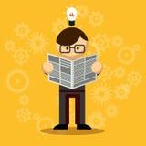 Homme d'affaires Reading Newspaper de vecteur illustration stock