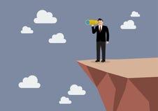 Homme d'affaires recherchant l'avenir d'affaires sur la falaise illustration libre de droits