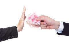 Homme d'affaires refusant l'argent Photos libres de droits