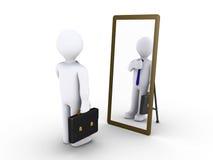 Homme d'affaires regardant dans le miroir Photos libres de droits